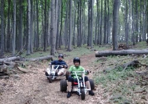 outdoor csapatépítés, mountaincarttal az erdei ösvényen